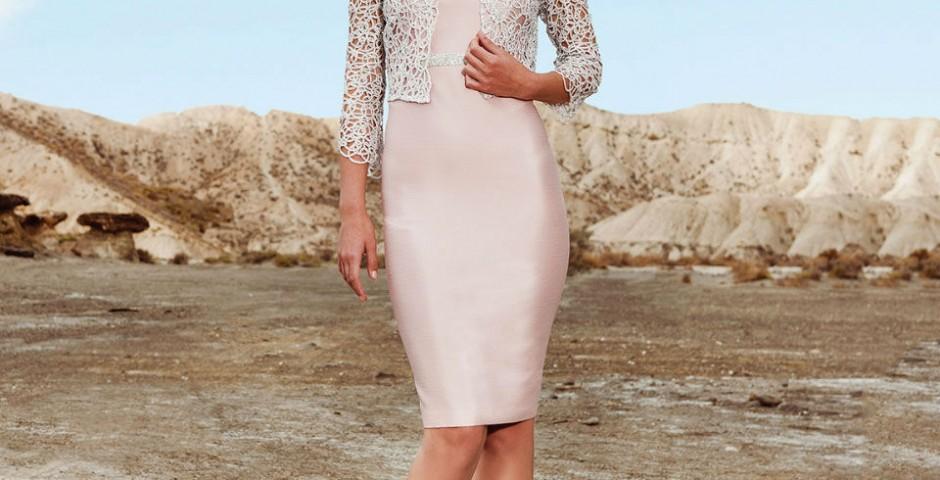 cocktail φορεμα σε αποχρώσεις του ροζ και ζακετακι δαντελλα atelier tsourani