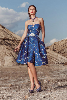 cocktail φορεμα σε αποχρώσεις του μπλε atelier tsourani