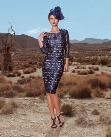 cocktail φορεμα μπλε δαντελλα atelier tsourani