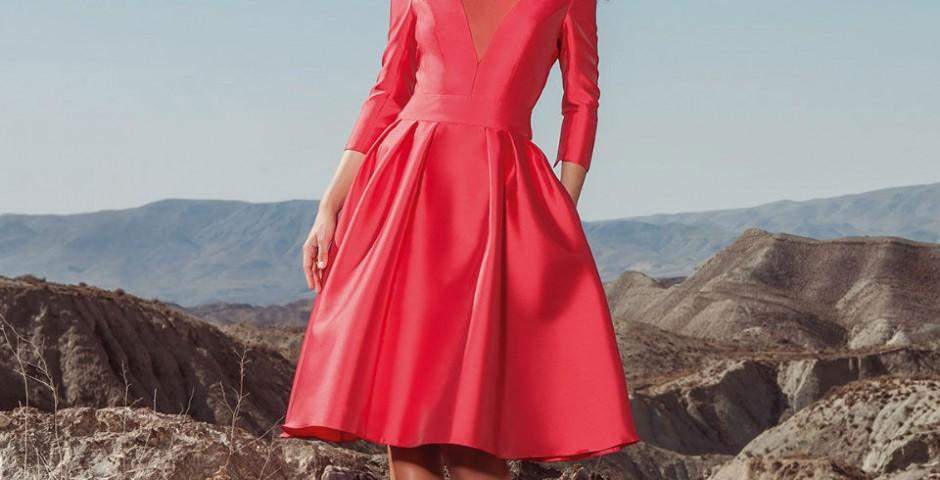 cocktail φορεμα κόκκινο σατινε atelier tsourani