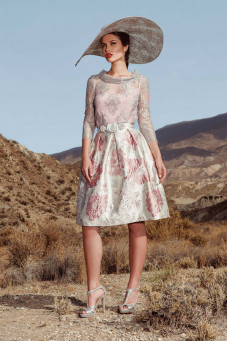 cocktail φορεμα σε αποχρώσεις του γκρι-ροζ atelier tsourani