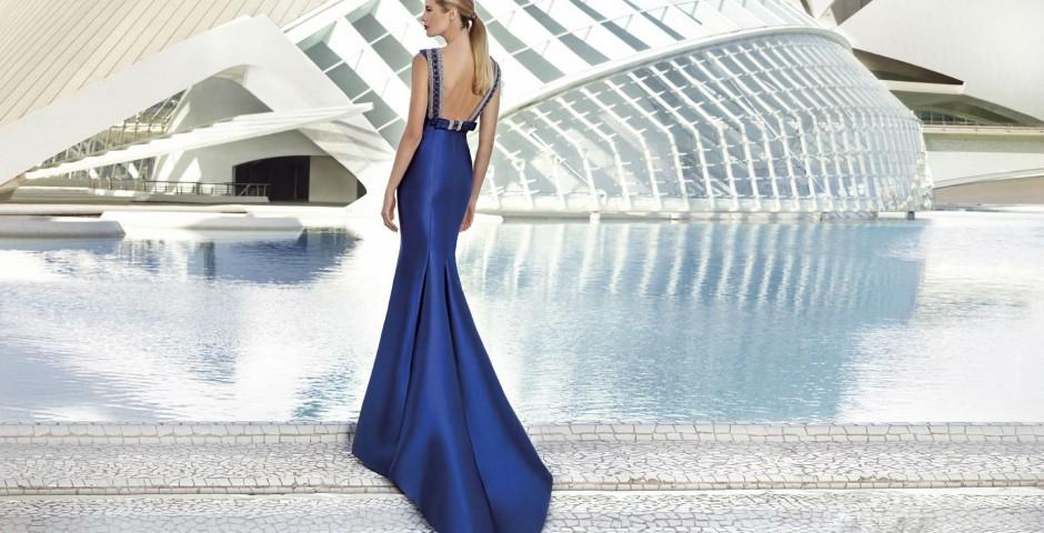 βραδινo φορεμα τουαλετα μπλε ρουα atelier tsourani
