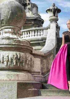 haute couture βραδυνο φορεμα με φουξια φουστα