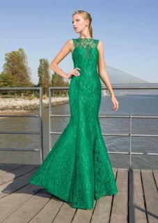 βραδινo φορεμα τουαλετα πρασινη δαντελλα atelier tsourani γαμο