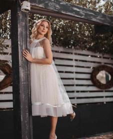 atelier tsourani bridal νυφικο πολιτικου γάμου Διπλο φόρεμα δαντελλα Γαλλίας με μεταξωτό τούλι